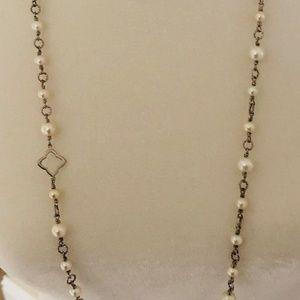 DAVID YURMAN Quatrefoil Silver & Pearl Necklace